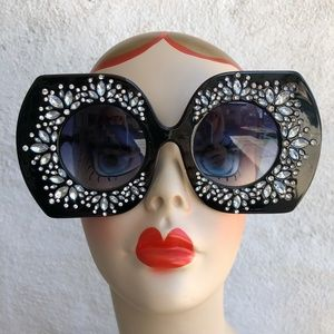 Giant Glam Girl Jet Black Rhinestone Sunglasses
